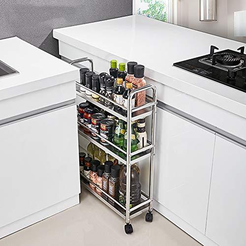 Servierwagen Edelstahl-Küchenrollwagen, schmaler Kühlschrank-Ecklagerregal, 3-Tier Gewürzregalgröße: 52,7 * 17,3 * 77,5 cm