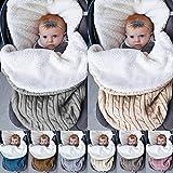 Neugeborenes Baby Gestrickt Wickeln Swaddle Decke Warm Schlafsack Schlummersäcke Geeignet für Kinderwagen, Autositz, Krippe, Bett, Körbchen für 0-12 Monat Baby, 68 x 38 cm