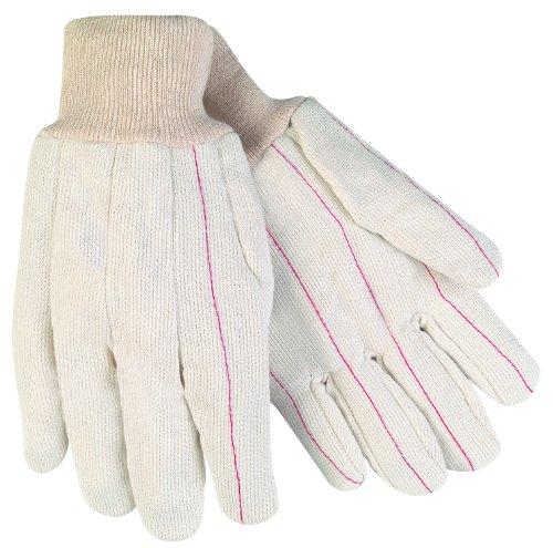 MCR Sicherheit 9018cdpcs Nap In Polyester/Baumwolle mit Doppel Palm Herren Handschuhe mit Sicherheit Manschette und gerade Daumen, weiß, Größe L (Doppel-manschette-handschuhe)