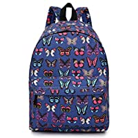 Miss Lulu Women Girls Canvas Backpack Rucksack School Shoulder Bag Butterfly Polka Dots Horse Cat Fish Elephant Pow Cartoon Prints ...