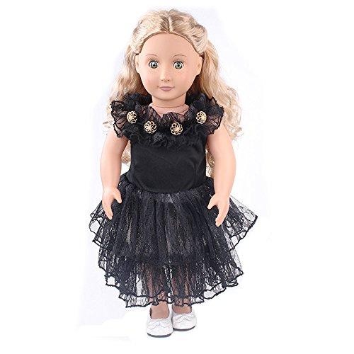 Vestido de Princesa de Encaje Vestido de muñeca Falda con Volantes para 18 Pulgadas Muñeca Americana Chica Gusspower