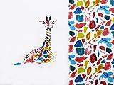 S&W - Stoff - Jersey Panel Giraffe bunt - Panel - 1 Stück