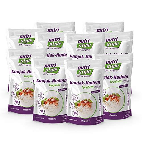 nutristyle Shirataki Konjak Nudeln, Spaghetti-Art, 10 x 270g (10x 200g ATG), Pasta-Alternative mit nur 6 kcal, ideal für eine kalorienarme Ernährung geeignet