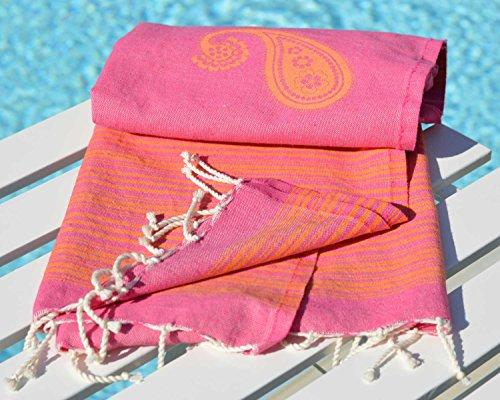 ZusenZomer® Fouta Hamamtuch XL 'Biarritz' | 100x190cm | Hochwertige Qualität Baumwolle | Strandtuch xxl, Saunatuch, Hamam Badetuch, leicht und dünn | Exklusives Design (Pink und orange)