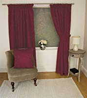"""Jacquard Floral Damask Wine Red 46x54"""" 117x137cm Lined Pencil Pleat Curtains Drapes by Curtains"""