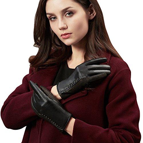 GSG Womens Trendy Genuine Leather Gloves Vintage Wave Patterns Rivets Decor Black Gloves