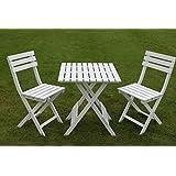 Wooden White Garden Bistro Set - Folding Garden Table & 2 Folding Garden Chairs