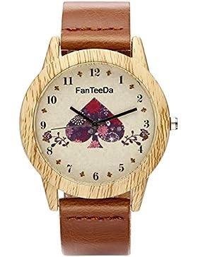 JSDDE Uhren,Vintage Holz-Muster Herz Armbanduhr Damenuhr Kleid Uhr PU Lederarmband Analog Quarzuhr,Braun