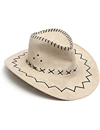 Sombrero - SODIAL(R)Retro Unisex Sombreros accesorio del vestido de lujo de Rodeo de vaqueros de Oeste Salvaje de Mezclilla beige