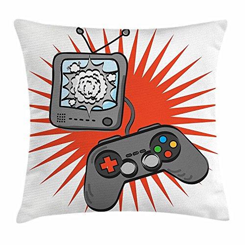 DCOCY Boy 's Room Überwurf, Video Games Motivdesign in Retro Style Gamepad Konsole Unterhaltung, dekorative Kissenbezug, quadratisch Accent Kissen Fall, 45,7x 45,7cm, orange grau weiß