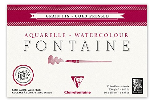Clairefontaine 96436C Malblock Kopfseitig Geleimt Aquarellpapier Feinkörnig, Fontaine/Hadern, 10 x...