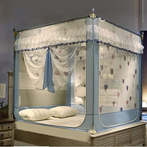 4 Ecken Pfosten Betthimmel drei Tür Moskitonetz Zelt Bett Vorhänge Moskitonetz für Mädchen Jungen Bett niedlich gemütlich drapieren Square Netting Bettwäsche ( Farbe : Blau , größe : 1.8 m (6ft) )