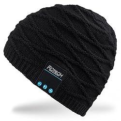 Rotibox Nachladbare Bluetooth Audiobeanie-Hut Moderne doppelte Knit-Schädel-Kappe mit drahtlosem Stereokopfhörer-Kopfhörer-Hörmuschel Speakerphone Mic für Sport-Eislaufen Wandernder kampierender Weihnachtsgeschenk-Schwarz
