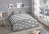 Aminata Jugend-Bettwäsche 135x200 cm Sterne grau Streifen hellgrau weiß Teenager-Bettwäsche Mädchen Jungen Baumwolle