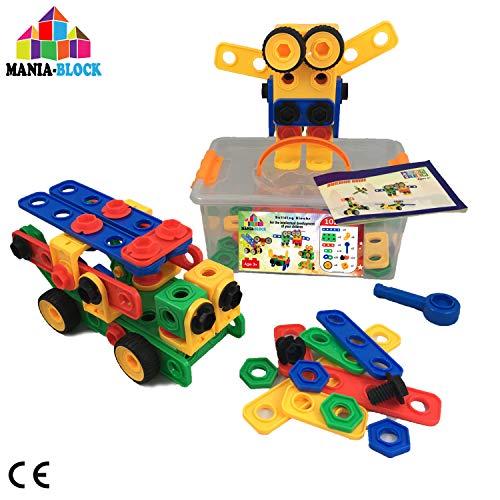 Jeu de construction créatif| 102 pcs XL: barres, vis, écrous, roues de voiture et outils + boite de rangement plastique| Jouet d'ingénierie pour garçons et filles de 3 4 5 6 ans| Super cadeau de Noel