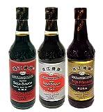3 verschiedene PRB Sojasauce je 500ml [dunkel, hell, Pilzaroma] Soja-Sauce