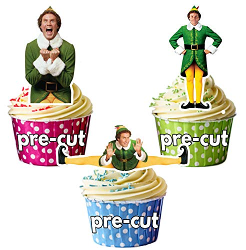 prédécoupés Buddy The Elf Movie/sera mm de Noël comestible pour cupcakes (lot de 12)