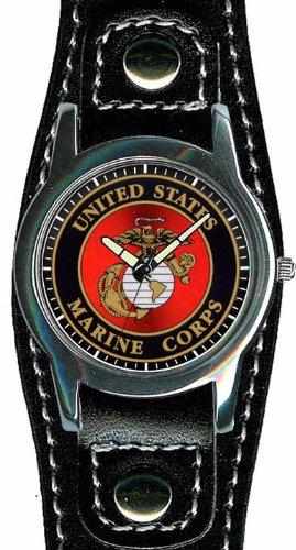 us-blason-marine-corps-coloris-chrome-et-cuir-pour-homme-montre-etanche-30-m