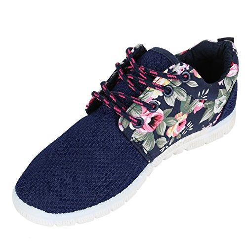 Damen Sportschuhe | Übergrößen | Trendfarben Runners | Sneakers Laufschuhe | Fitness Prints Dunkelblau Weiss Blumen