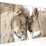Bilder Löwen Liebe Wandbild 150 x 60 cm Vlies - Leinwand Bild XXL Format Wandbilder Wohnzimmer Wohnung Deko Kunstdrucke Braun 5 Teilig - MADE IN GERMANY - Fertig zum Aufhängen 002156b