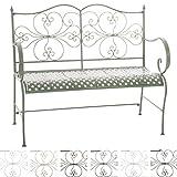 CLP 2er Garten-Bank ANNO V2 mit Armlehne, im Landhausstil, Metall Sitzbank (Eisen lackiert), grazile Form, stilvolle Verzierungen Antik-grün