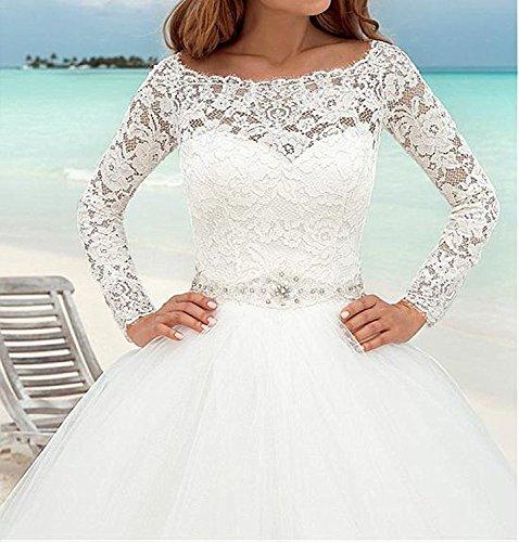 Cloverbridal Elegant Brautkleider Spitze Hochzeitskleider für Damen Prinzessin Lange Ärmel (32, Weiß) - 3