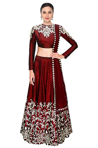 Ramdev Emperio Maroon Color Raw Silk Semi_Stitched Lehenga Saree For Women (Navratri...