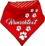 KLEINER FRATZ gestreiftes Hunde Wende- Halstuch (Fb: rot-orange) (Gr.2 - HU 31-35 cm) mit Ihrem Wunschtext