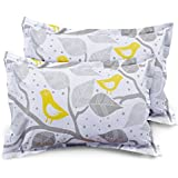 "Ahmedabad Cotton 2 Piece Cotton Pillow Cover Set - 18""x 27"", Grey and Yellow"