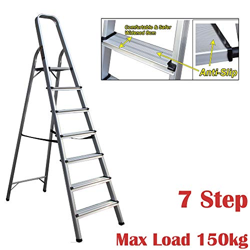 Escalera de aluminio plegable de 7 peldaños, portátil, ligera, decoración, multiusos, seguridad antideslizante...