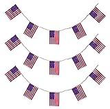 6m Wimpelkette * USA & Amerika * mit 11 Flaggen-Wimpel als Deko für eine US-Mottoparty // Bunting Flag Motto Party Girlande Partykette Stars Stripes