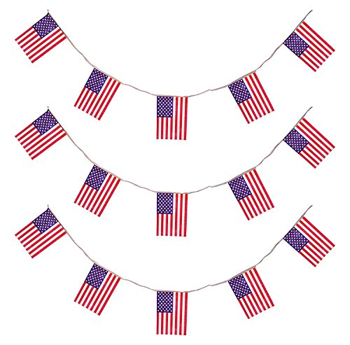 & AMERIKA * mit 11 Flaggen-Wimpel als Deko für eine US-Mottoparty // Bunting Flag Motto Party Girlande Partykette Stars Stripes (Bunting Flags)