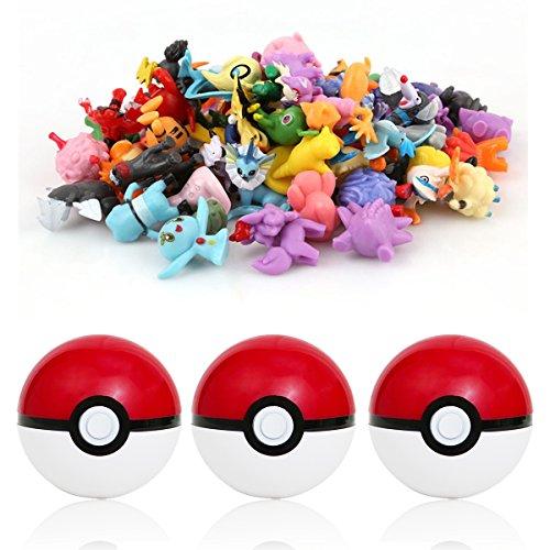 Katara - 48 Pokémon Figuras de colección aleatorias + 3 Poké Bolas Pokéball, color rojo y blanco
