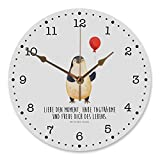 Mr. & Mrs. Panda Druck, Rund, 30 cm Wanduhr Pinguin Luftballon mit Spruch - Farbe Weiß