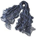 prettystern - Leggero e Sottile Foulard di Seta Sciarpa Donna Stampa a Pois Polka Dots - 200/65 Blu