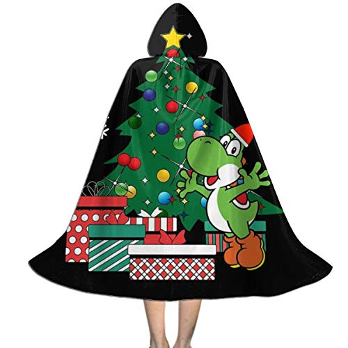 KUKHKU Yoshi Around The Christmas Tree Mario Unisex Kinder Kapuzenumhang Umhang Umhang Umhang Umhang Cape Halloween Weihnachten Party Dekoration Rolle Cosplay (Yoshi Kostüm Hunde)