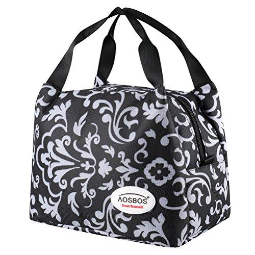 Aosbos Leichte Kühltasche Lunch Tasche Isoliertasche zur Arbeit und Schule gehen 6 Liter, 24,1 x 15,2 x 17,11 cm (1 Schwarz) - Mittagessen-tasche Sport