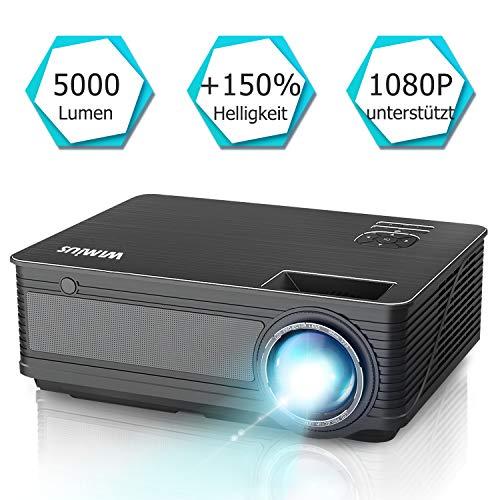 Beamer, WiMiUS P18[Update Version] 5000 Lumen Heimkino Projektor, 4000:1 Kontrast, Native