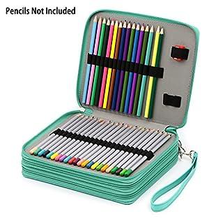 Sumnacon étui à crayons en cuir pour 120 crayons, dessinateur professionnel ou amateur (turquoise)