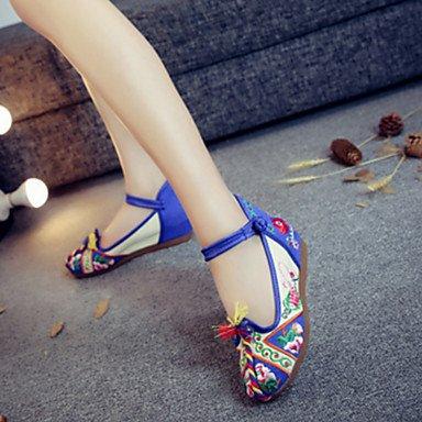 Da donna-Oxford-Tempo libero Casual Sportivo-Comoda Innovativo Scarpe ricamati-Piatto-Di corda-Rosso Blu Blue