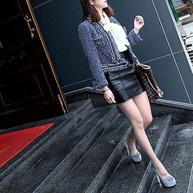 pwne Donna Tacchi Primavera Estate Comfort Pu Outdoor Stiletto Heel Blu Nero Argento A Piedi US6.5-7 / EU37 / UK4.5-5 / CN37