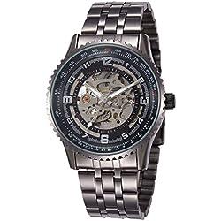 Alienwork Automatic Watch Self-winding Skeleton Mechanical Metal black black W9500-02