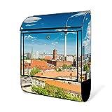 BANJADO Design Briefkasten schwarz   38x47x13cm groß mit Zeitungsfach   Stahl pulverbeschichtet   Wandbriefkasten mit Motiv Berlin Mitte mit silbernem Standfuß
