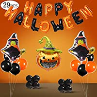 SPECOOL 30 Pieces Halloween Party Supplies Balloons Halloween Home Party Decorations Set,Bunting Banner Paper Ball Pumpkin Bats Balloons Festival Decoration