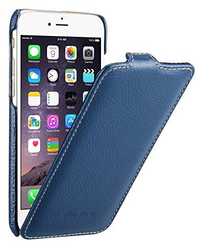 Edle Tasche für Apple iPhone 6S und 6 (4.7 Zoll) / Case Außenseite aus beschichtetem Leder / Cover Innenseite aus Textil / Schutz-Hülle aufklappbar / ultra-slim / Flip-Case / Farbe: Blau - Apple Iphone Holster