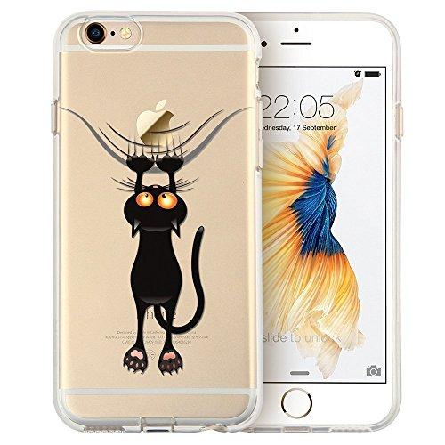 Blitz® Mania Series Transparent Weiche Silikon Schutzhülle TPU Bumper Case iPhone Ballon Mädchen iPhone 7 ungezogene Katze
