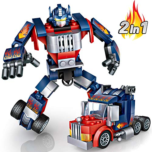 joylink Auto Roboter Spielzeug, Transformator-Roboter Auto Bauklötze Spielzeug-Sets Deformation Roboter Mini Blöcke Bausteine Kits Lernspielzeug Bausteine   Pädagogisches Bausteine   Spielzeug (Blau)