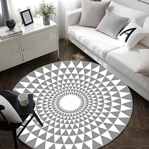 WOFULL Tapis protecteur géométrique européen Tapis rond Salon Carpet Chambre Couche-lit Couverture Cartoon Coussin pour ordinateur (Couleur : Gris, taille : Diameter 100cm)