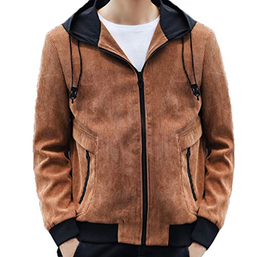 Herren Jacken, Herbst/Winter, modisch, lässig, einfarbig, mit Kapuze, Reißverschluss xl gelb - Kleidung Resistent Kälte
