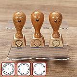 buetic Set Insegnante di scuola timbro di legno-timbro con acrilico titolare Stand-Design a scelta 3er Set 3 - Uhrzeit